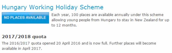 Új-Zéland working holiday vízum WHS