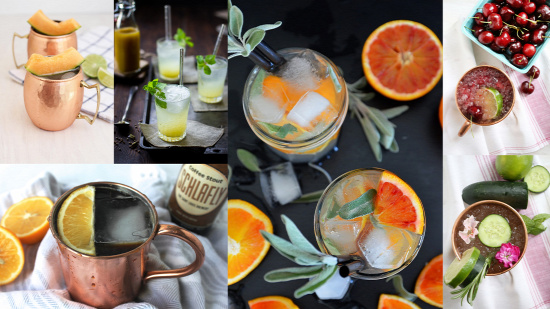 moscow mule receptúra Mumbai mule vodka smashed cherry mule garden mule midnight mule blood orange and sage mule Melon mule grey goose