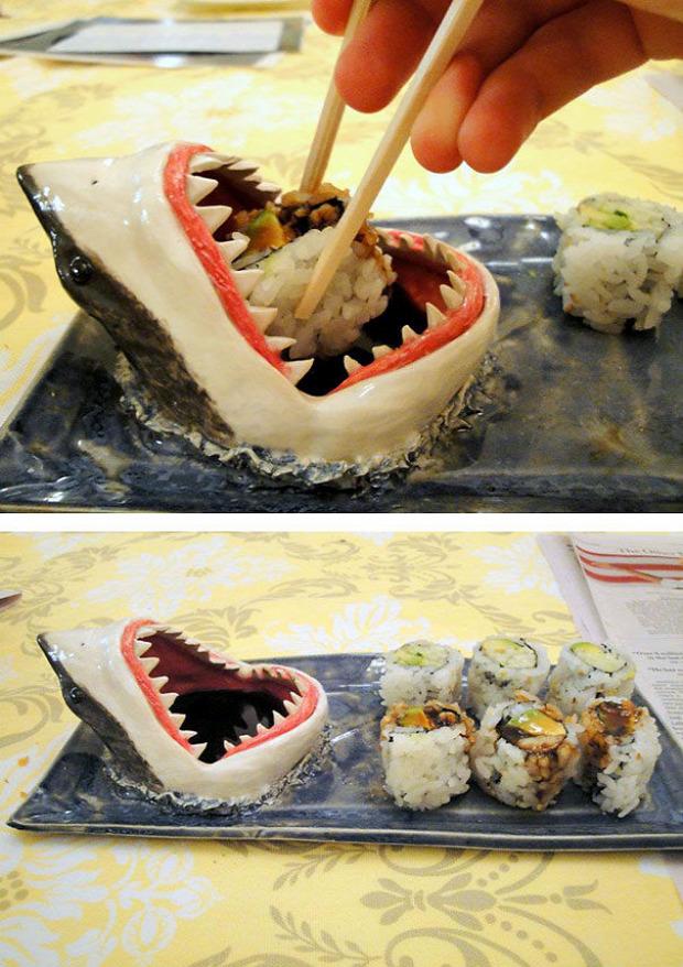 Hétvégi dizájn morbid cápa szusi tál