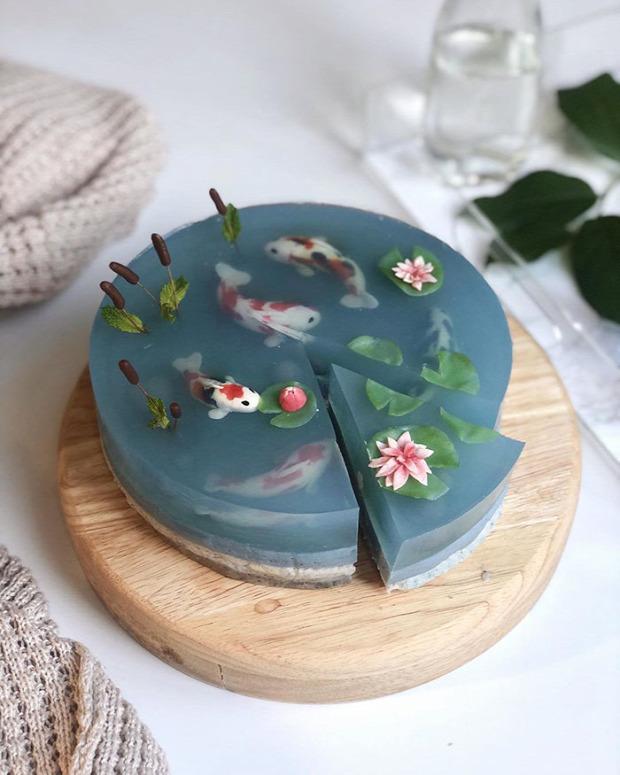 dizájn torta tó koi  ponty