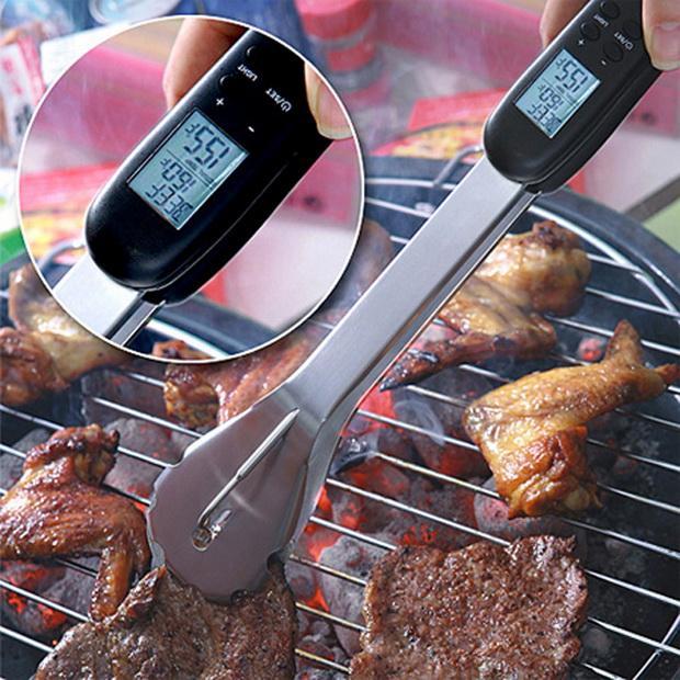 Hétvégi dizájn grill csipesz húsfogó BBQ hőmérő