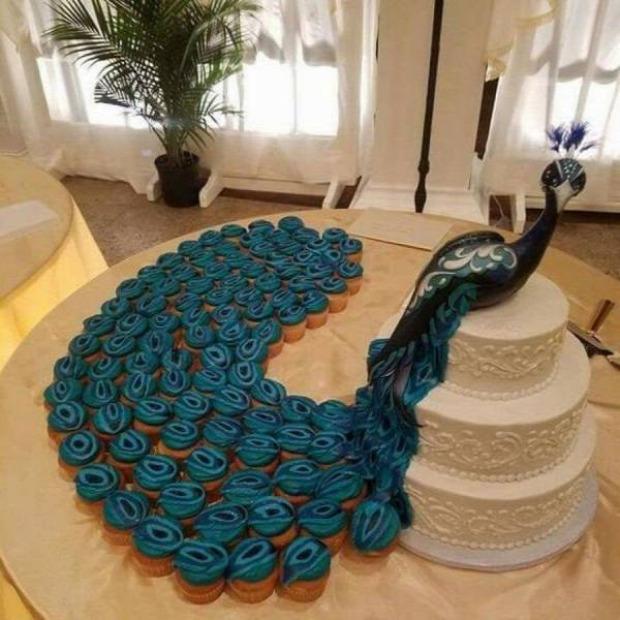 Hétvégi dizájn torta páva madár