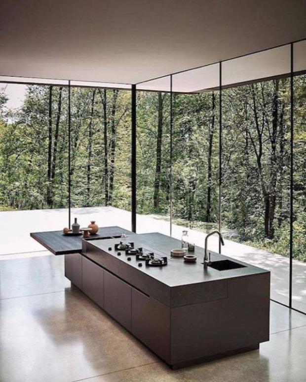 hétvégi dizájn konyha ablak üvegfal