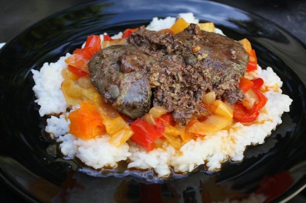 recept főétel melegétel húsétel máj pulyka lecsó