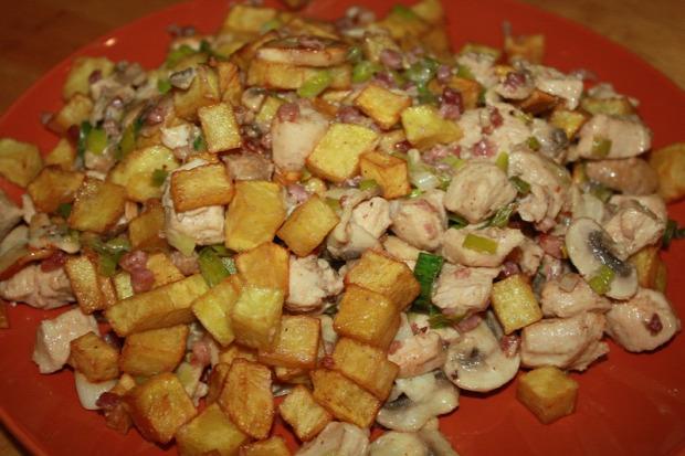 recept főétel melegétel húsétel csirke gomba zöldhagyma kefír