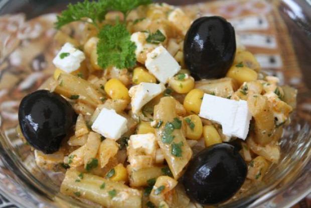 recept saláta zöldbab kukorica feta marinád