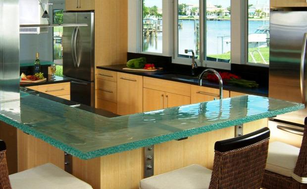 Hétvégi dizájn konyha pult üveg asztal