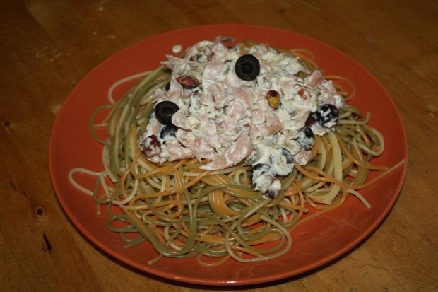 recept főétel melegétel tészta spagetti mortadella padlizsán