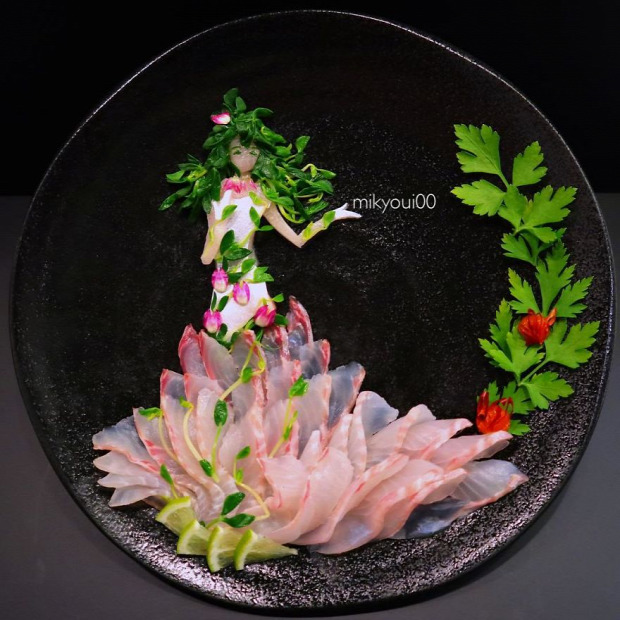 dizájn tálalás japán szasimi sashimi