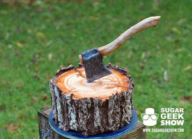 Hétvégi dizájn torta favágó