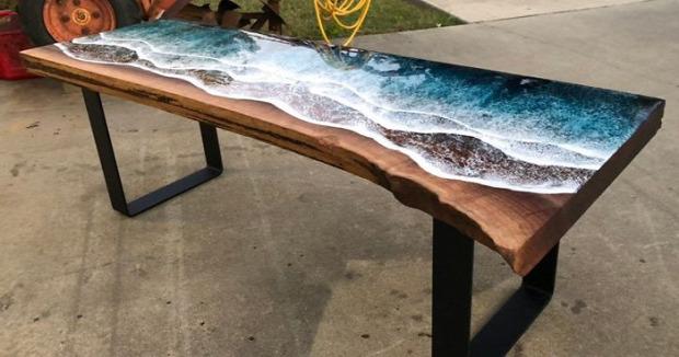 asztal fa műgyanta óceán