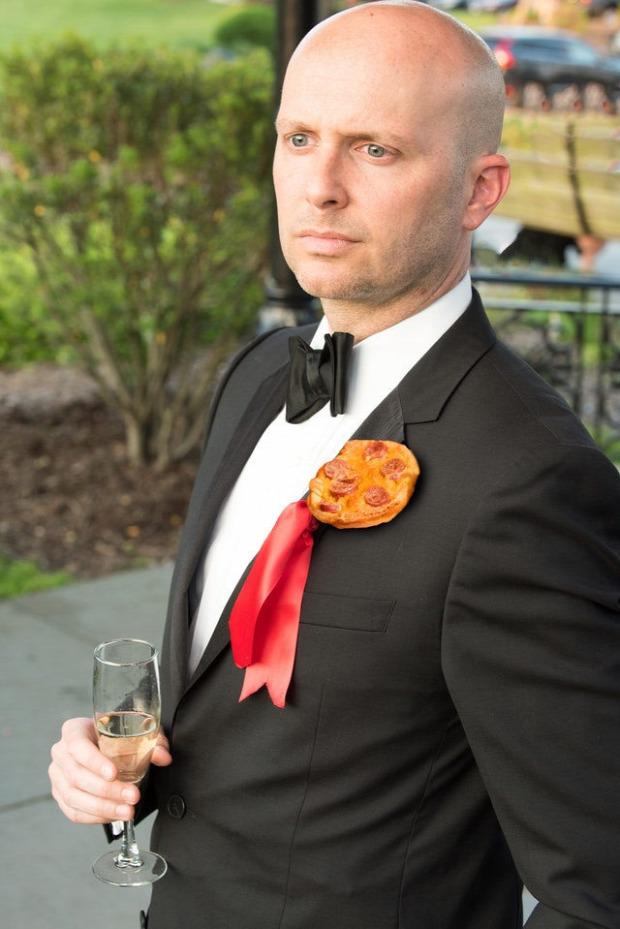 pizza esküvő csokor