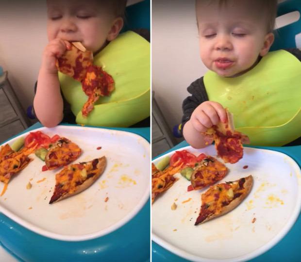 videó pizza alvás baba gyerek
