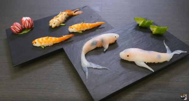 dizájn trükk szusi hal élő utánzat