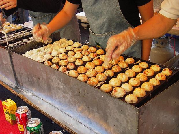 Street Food Japán tészta golyó labda takoyaki