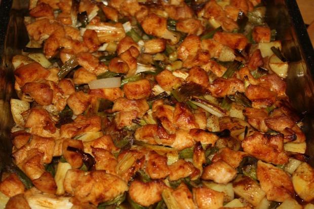 Recept főétel melegétel húsétel csirkemell új krumpli tepsi