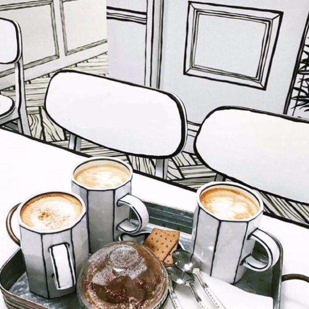 dizájn rajz kávézó illusztráció