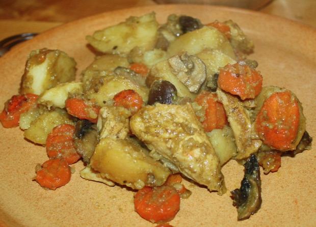 recept főétel melegétel húsétel egytálétel újkrumpli csirke gomba répa mustár pác