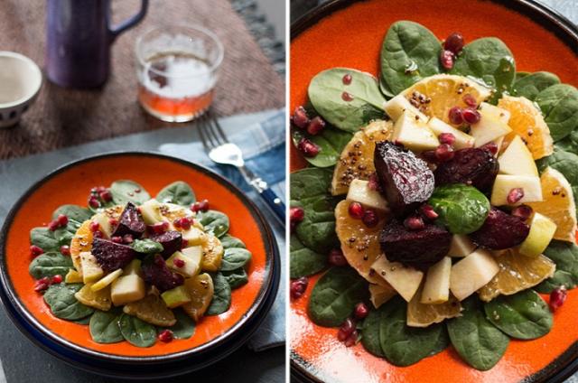 saláta cékla spenót téli étel diéta