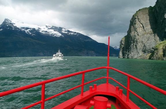Hajóval megyünk a Bernardo O'Higgins Nemzeti Parkban