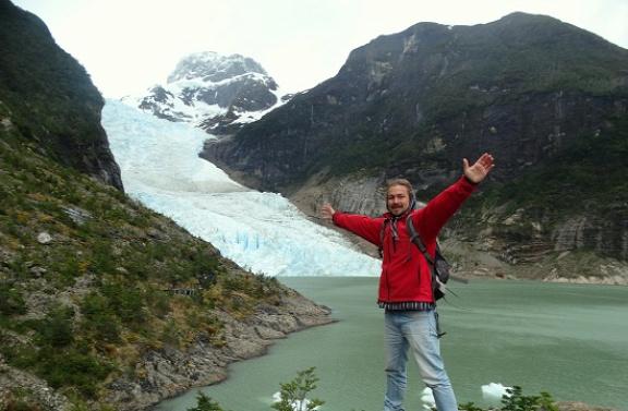 Én a Serrano-gleccser előtt
