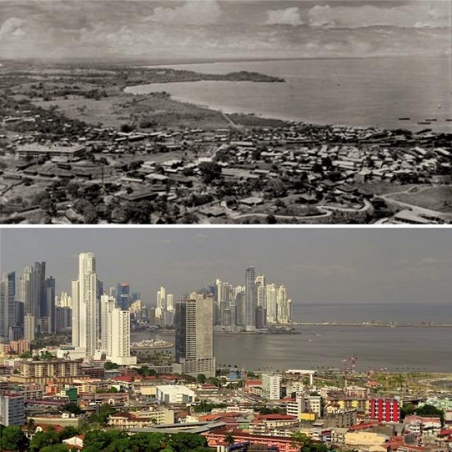 Panamaváros az 1960-as évek elején és 2015-ben