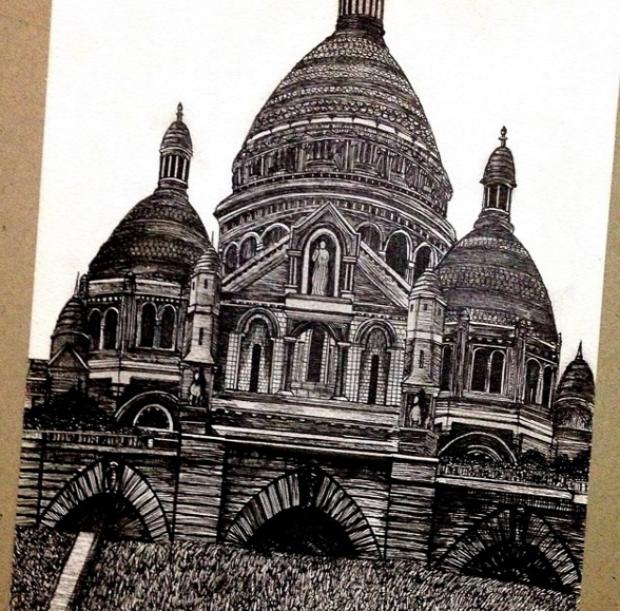 A világ érdekes rajz toll fekete épület