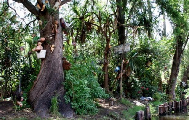 A világ érdekes Mexikó mexikóváros Babák szigete La Isla de Las Munecas hora rémisztő