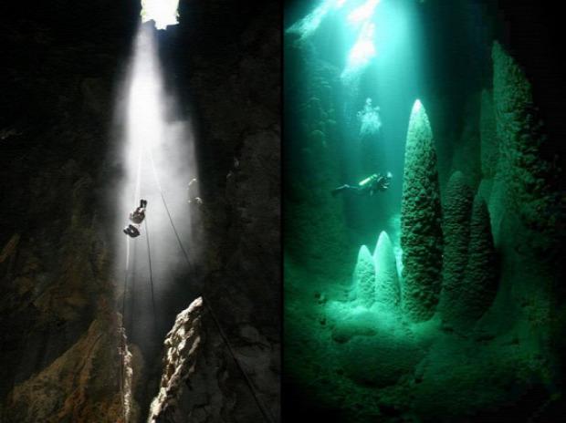 A világ érdekes Brazília Mato Grosso kék-tó barlang Csepkő
