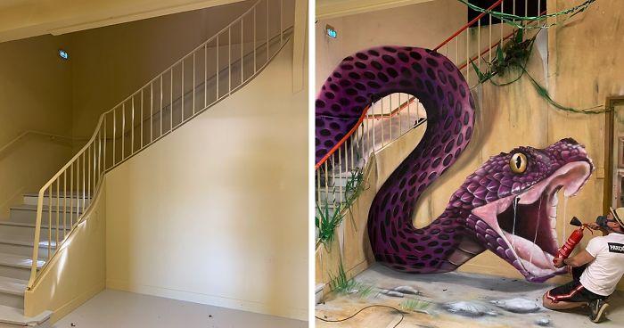 optikai illúzió graffiti 3D Scarf