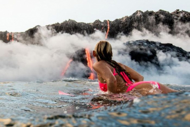 A világ érdekes Hawaii vulkán Kilauea láva víz