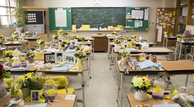 Dél-Korea komp baleset középiskola diákok tanterem üres