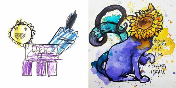 A világ érdekes gyerekrajz művész utánzat