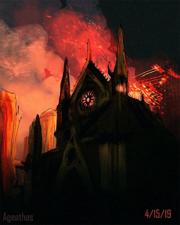 A világ érdekes művész tisztelgés tűz Notre Dame Párizs székesegyház