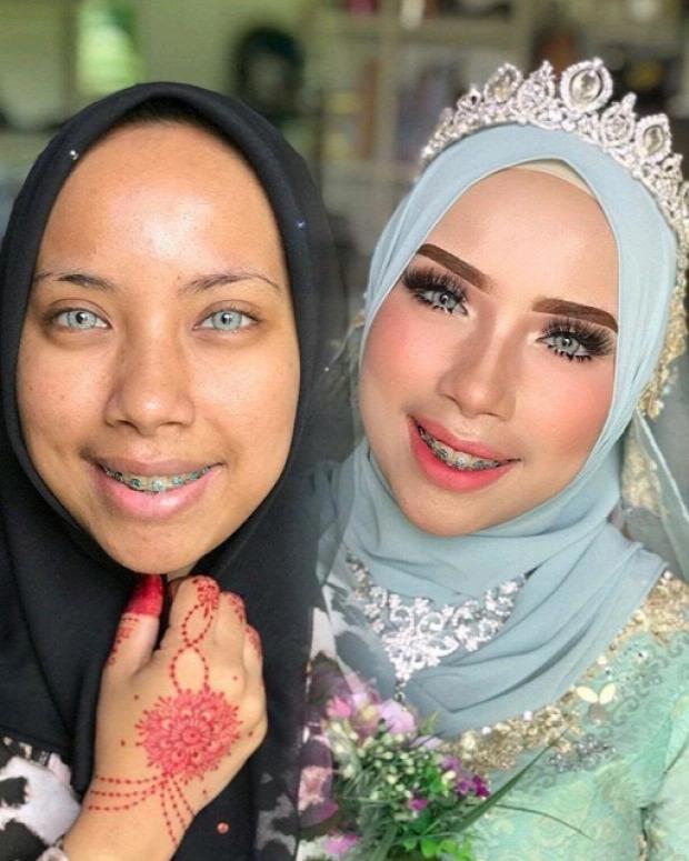 A világ érdekes Ázsia menyasszony  smink dísz