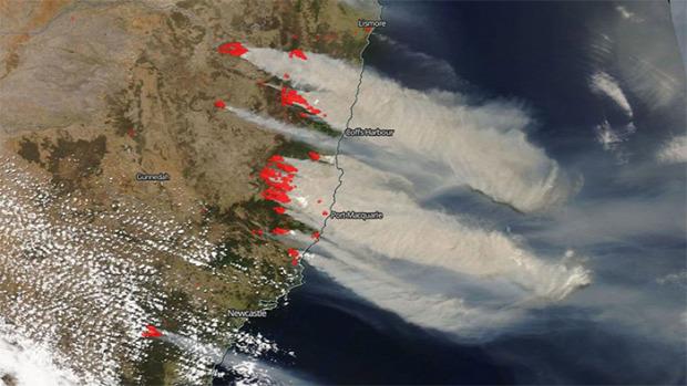 Ausztrália tűz tűzvész füst világűr műhold