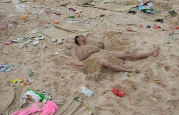 A világ érdekes Kína tengerpart szemét