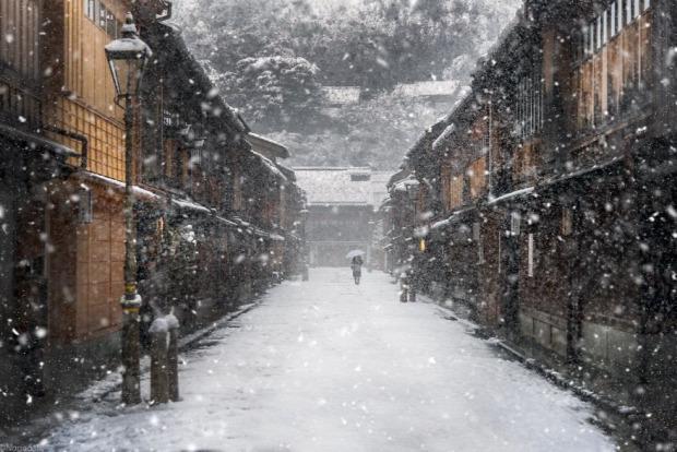 A világ érdekes Japán tél drón üdülőhely