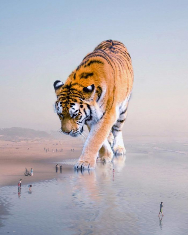 A világ érdekes hatalmas állat digitális művész