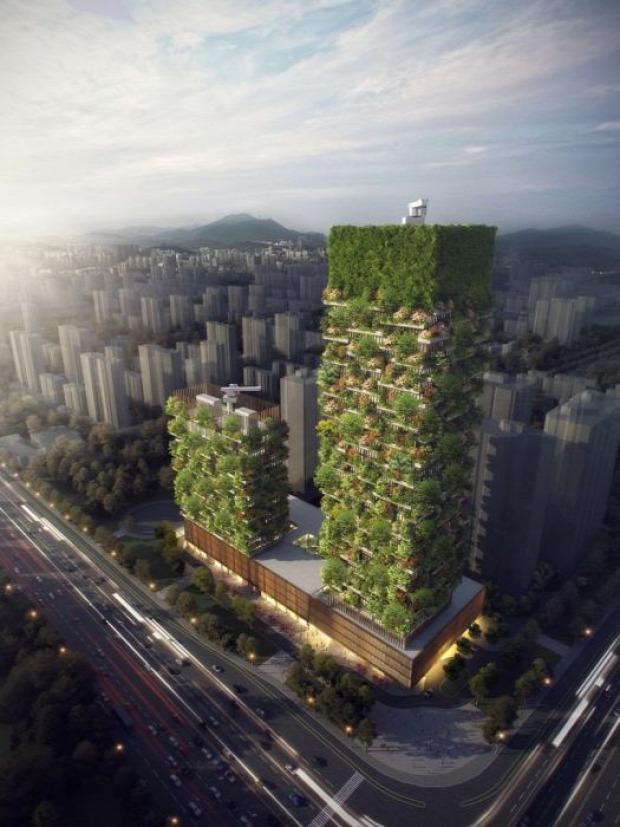 A világ érdekes Kína erdő toronyház szmog