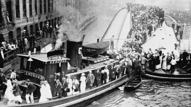 A világ érdekes S.S. Eastland legnagyobb hajó katasztrófa személyszállító Michigan-tó Chichago