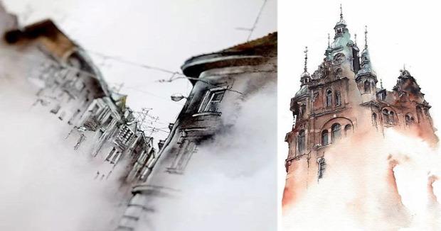 A világ érdekes Akvarell vizfesték ház város Sunga Park