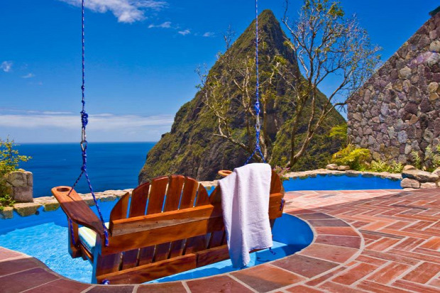 A világ érdekes Karib tenger Saint-Lucia Ladera resort szállás