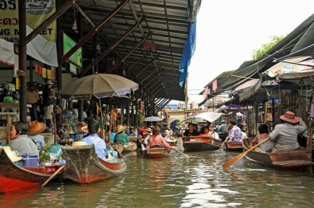 A világ érdekes úszó lebegő piac csónak Ázsia