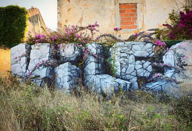 A világ érdekes graffiti 3D fal lyuk rés átlátszó