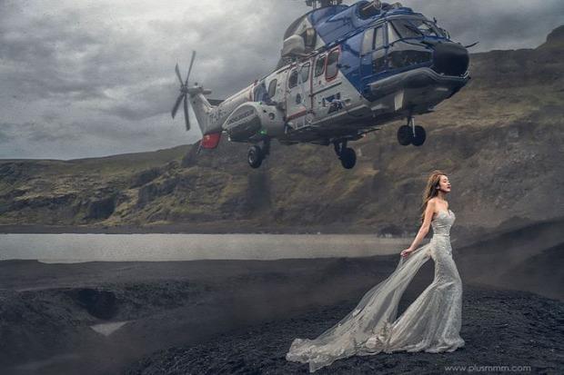 A világ érdekes esküvő fotó helikopter Izland