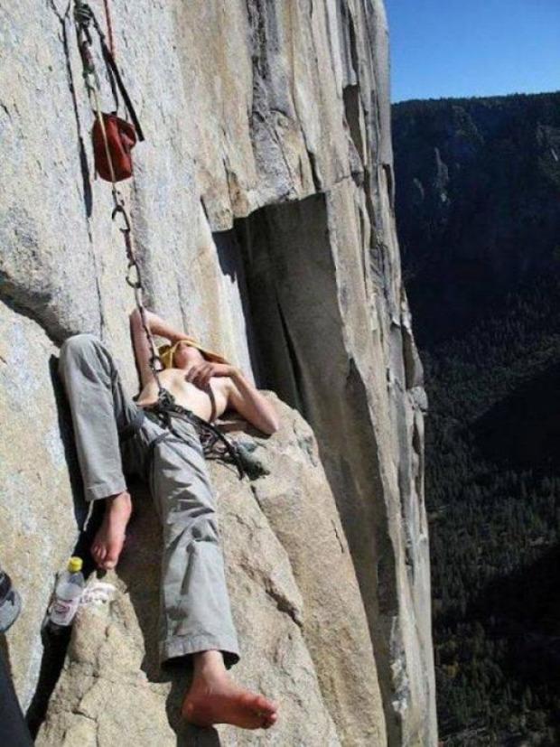 A világ érdekes hegymászó alvás