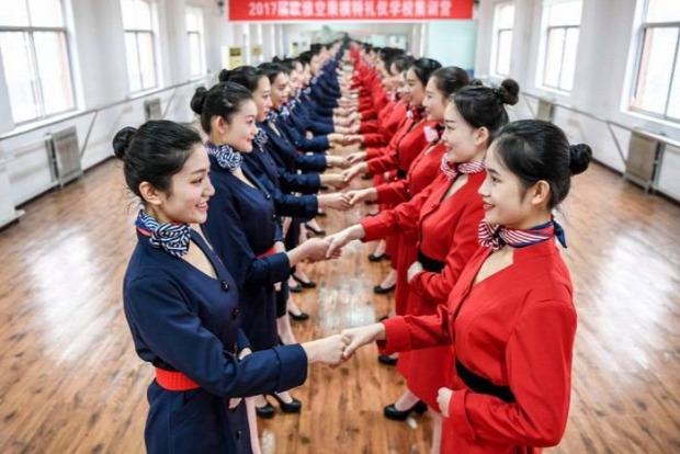 A világ érdekes Kína stewardess légiutas-kísérő iskola