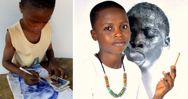 A világ érdekes Nigéria grafikus művész 11 éves hiperrealisztikus