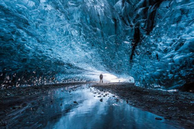 A világ érdekes Izland jég gleccser barlang